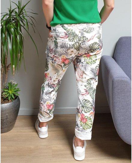 Pantalon fluide blanc feuillages et fleurs exotiques multicolores