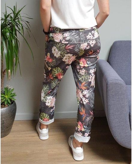 Pantalon fluide noir feuillages et fleurs exotiques multicolores