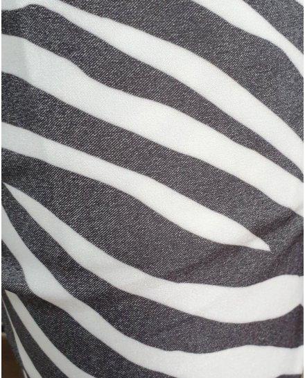 Pantalon fluide zébré noir et blanc