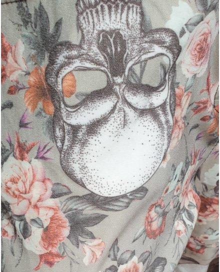Pantalon fluide kaki têtes de mort et fleurs blanches et camel
