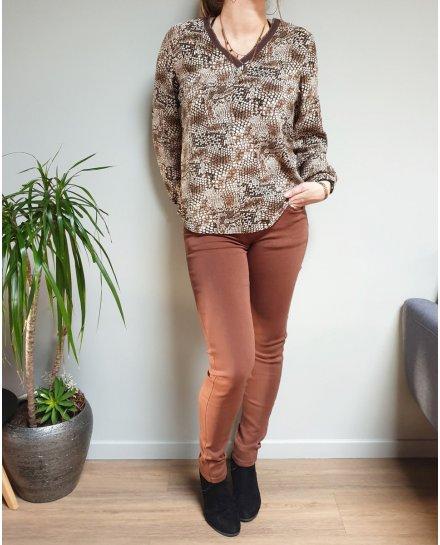 Pantalon marron camel push up coupe confort