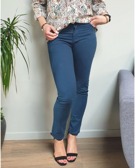 Pantalon bleu canard slim droit taille haute