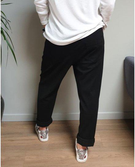 Pantalon fluide noir elastique effet déchiré