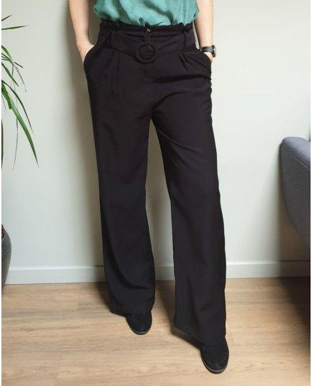 Pantalon fluide évasé noir taille haute ceinturé
