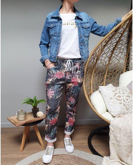 Pantalon fluide noir feuillages exotiques multicolores