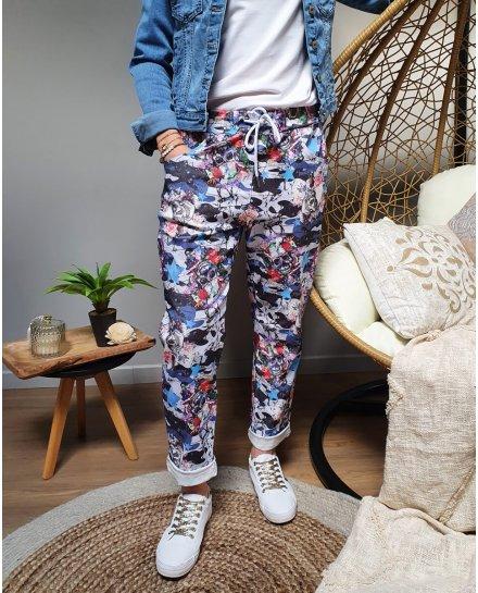 Pantalon fluide fleuri tête de mort -Bleu