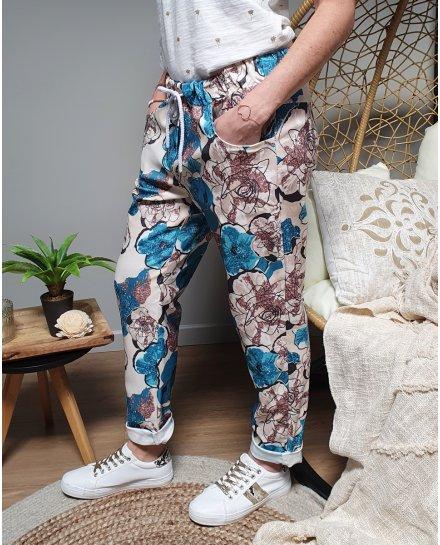 Pantalon fluide grosses fleurs