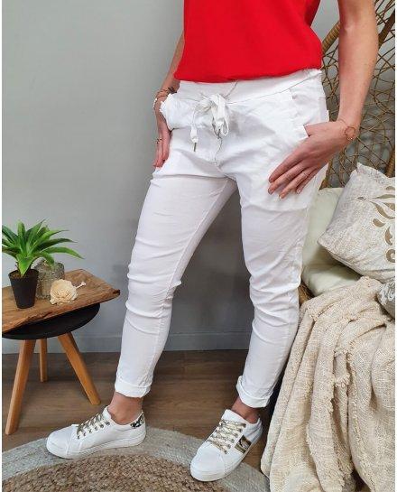 Pantalon blanc élastiqué