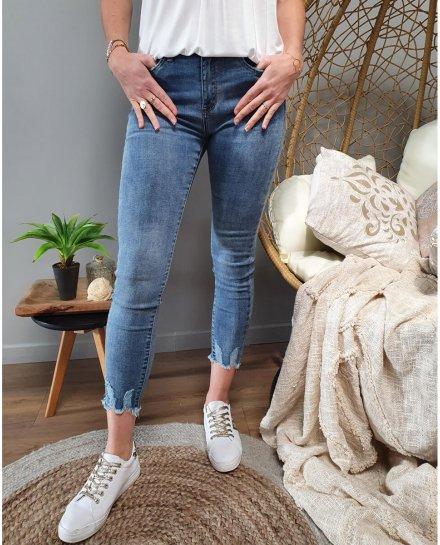 Jean bleu clair skinny 7/8 taille haute