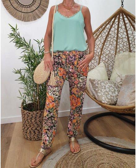 Pantalon fluide imprimé floral vert orange et violet