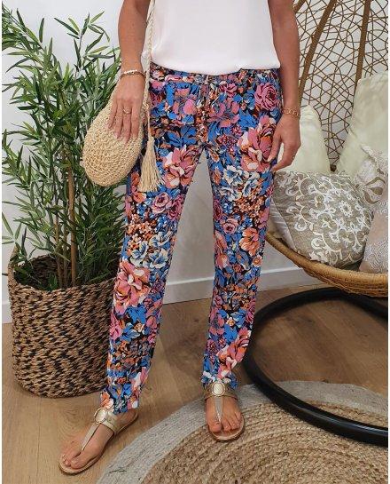 Pantalon fluide imprimé floral bleu rose et orange