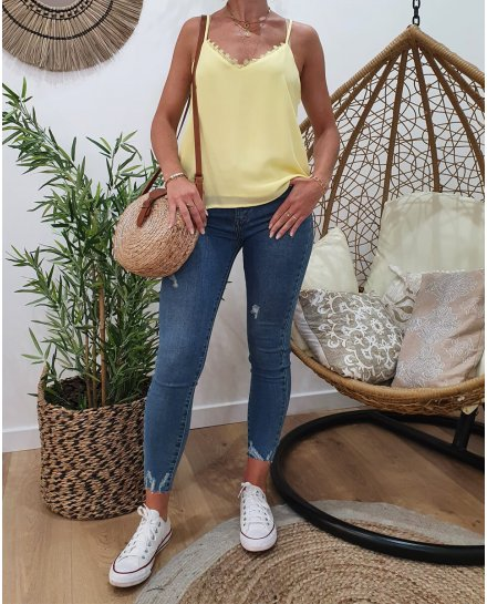 Jean skinny vintage blue taille haute à ourlet effiloché