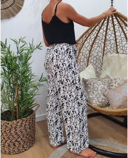 Pantalon fluide taille haute noir et blanc