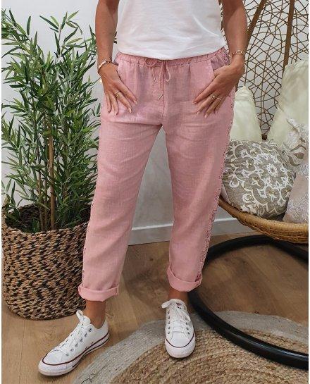Pantalon lin bandes latérales en broderie