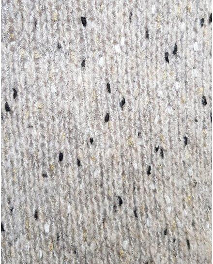 Gilet long gris chiné maille pois blancs noirs et dorés