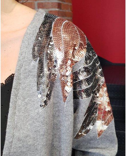Gilet long gris épaules ailes en sequins cuivrées et argent