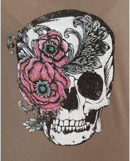 Pull fin taupe tête de mort fleurie à strass