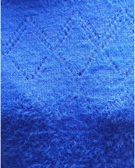 Pull bleu roi doux ajouré dos V
