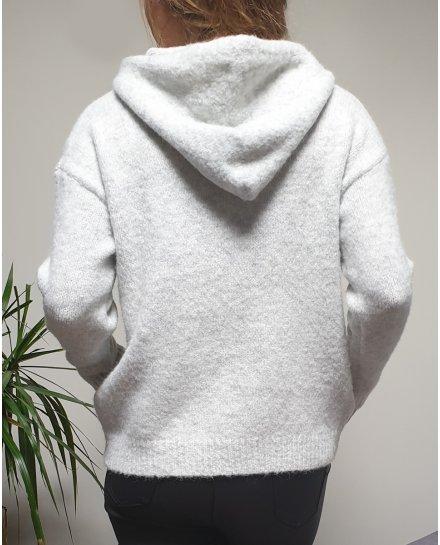 Pull à capuche gris et cordons brodés blancs