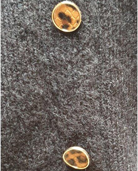 Pull réversible noir à boutons léopard