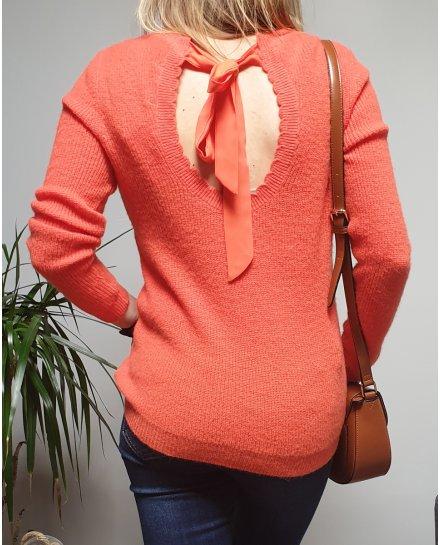 Pull orange col et dos V à noeud
