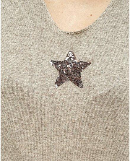 Pull oversize taupe étoile à sequins
