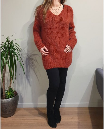 Pull grosse maille dos coeur ajouré