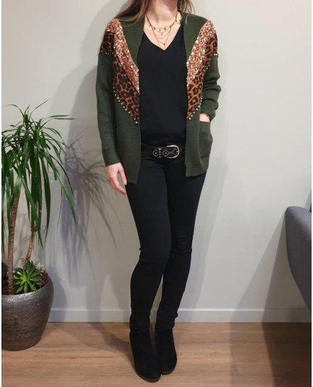 Gilet bandes sequins leopard et strass
