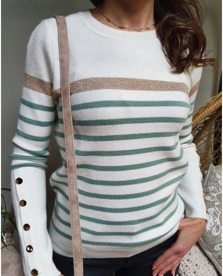 Pull marinière blanc rayures vert amande bande dorée