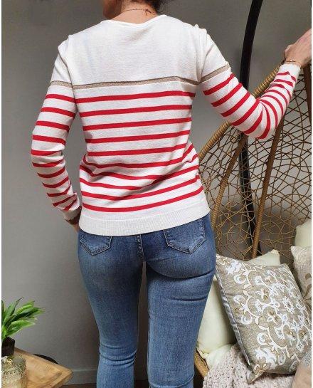 Pull marinière blanc rayures fines rouge et doré
