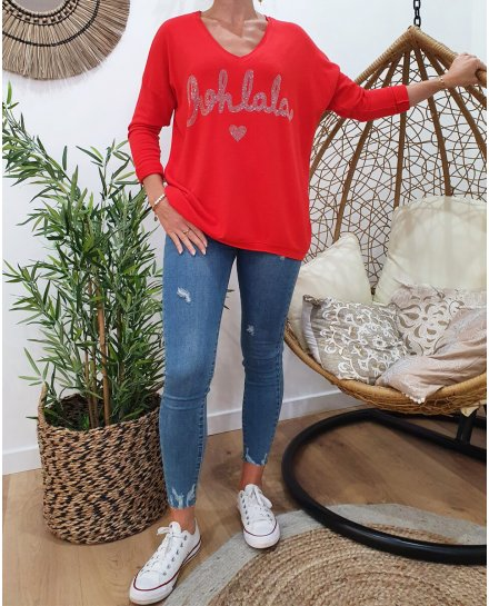 Pull oversize Oohlala strass