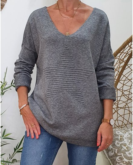 Pull oversize étoile relief