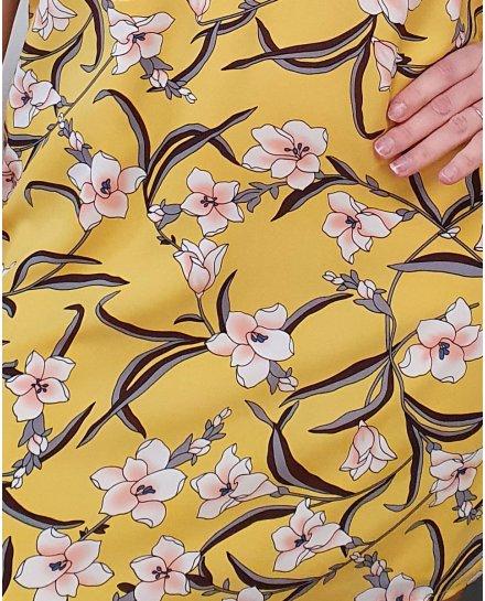 Robe jaune fleurie rose et blanche