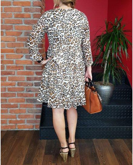 Robe fluide beige imprimé léopard