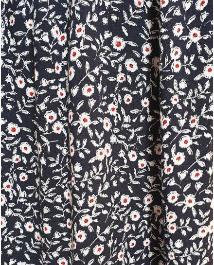 Robe chemise marine petites fleurs blanches et rouges
