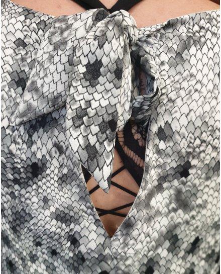 Robe droite grise et blanche motif python noeud dos
