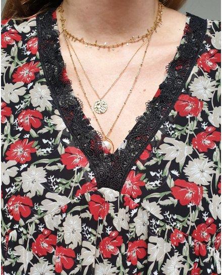 Robe fluide noire fleurs rouges et taupes col brodé