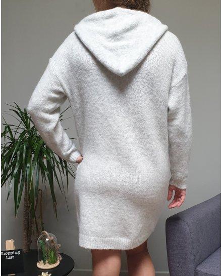 Robe à capuche grise et cordons brodés blancs