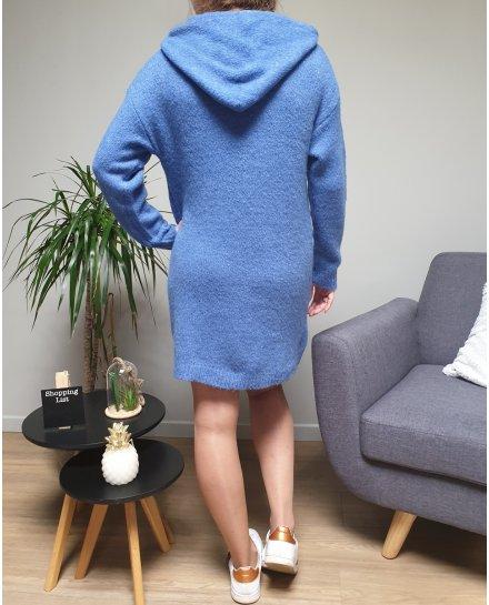 Robe à capuche bleu indigo et cordons brodés blancs