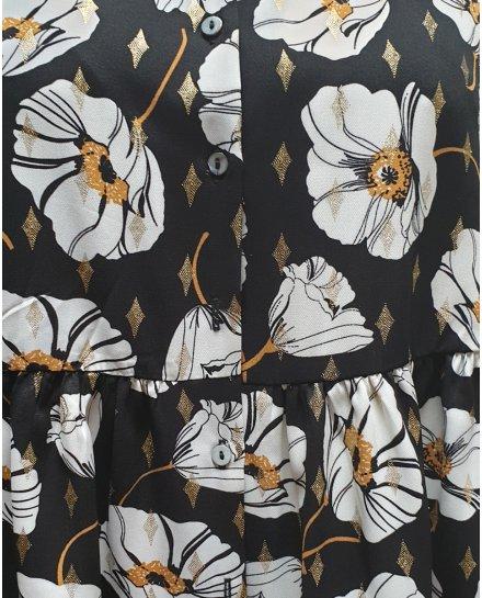Robe chemise noire coquelicots blancs moutardes et dorés