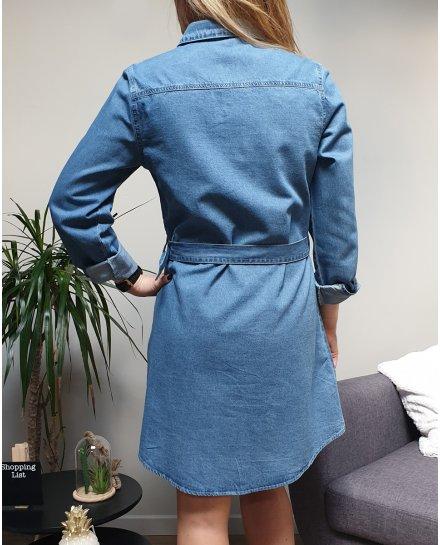 Robe chemise en jeans ceinturée