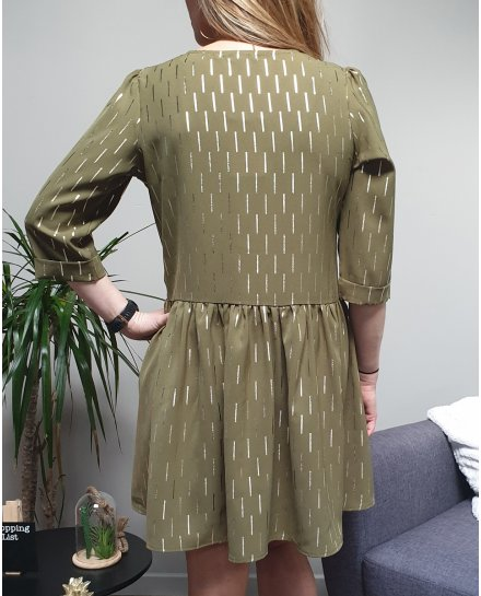 Robe kaki clair évasée à lignes dorées