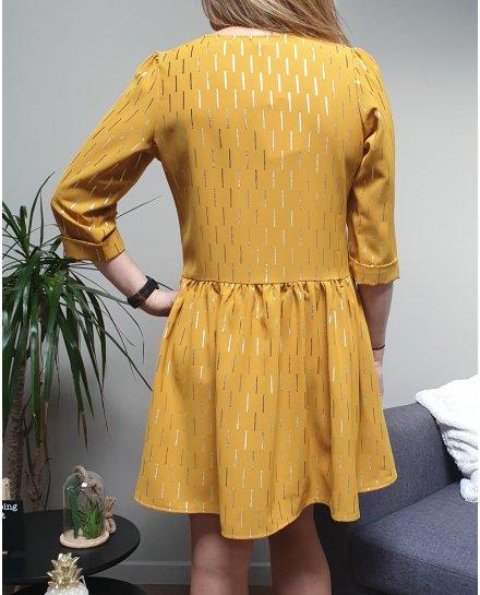 Robe moutarde évasée à lignes dorées