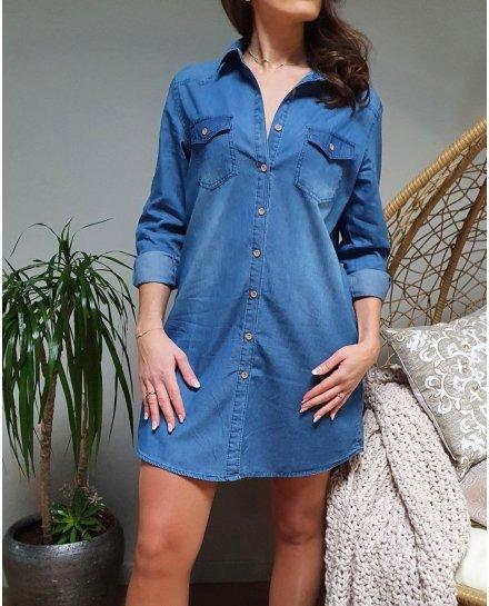 Robe chemise jeans bleue cintrée