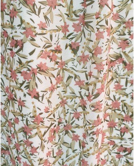 Robe longue blanche fleurs liberty roses vertes et dorées