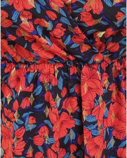 Robe longue coquelicots rouges et bleus