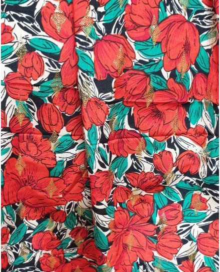 Robe longue coquelicots rouges