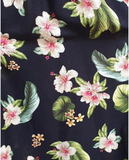 Robe longue noire fleurs de lys beiges roses et feuilles vertes