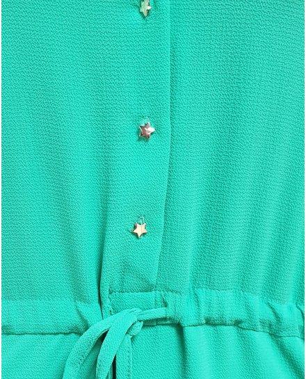 Robe fluide verte bretelles et manches volantes et boutons étoilés