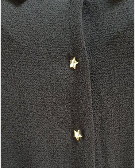 Robe fluide noire bretelles et manches volantes et boutons étoilés